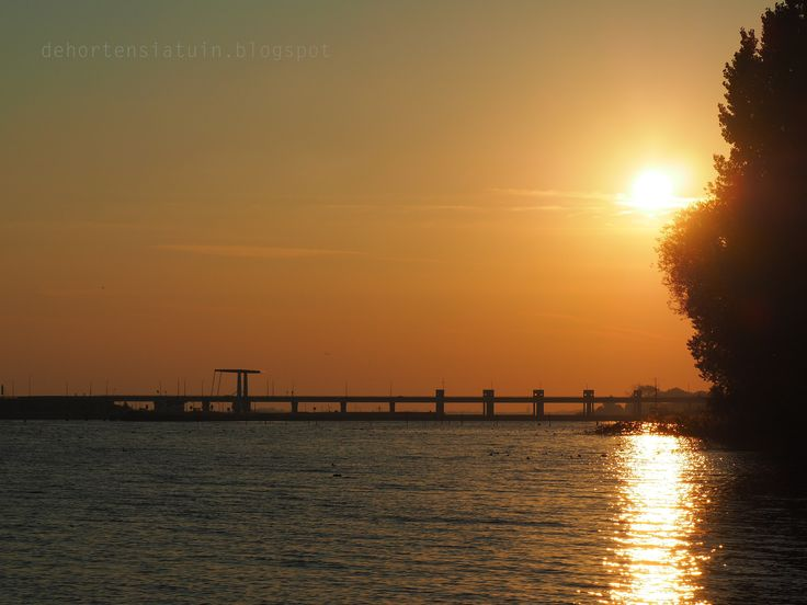 Sunset, erkemederstrand, lake, beach, dehortensiatuin.blogspot, ophaalbrug, bridge
