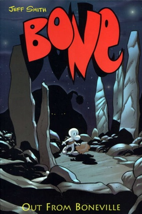 Bone, by Jeff Smith. Amazing Graphic Novel. Great for boys and High Readers! Action packed!