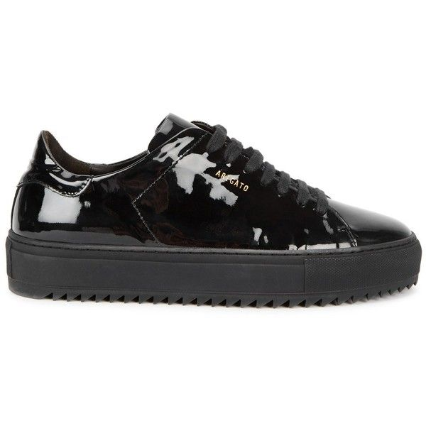 Axel Arigato Black Patent Leather Trainers - Size 5 (€225) ❤ liked on Polyvore featuring shoes, sneakers, laced up shoes, round cap, black patent leather shoes, black rubber sole shoes and patent sneakers