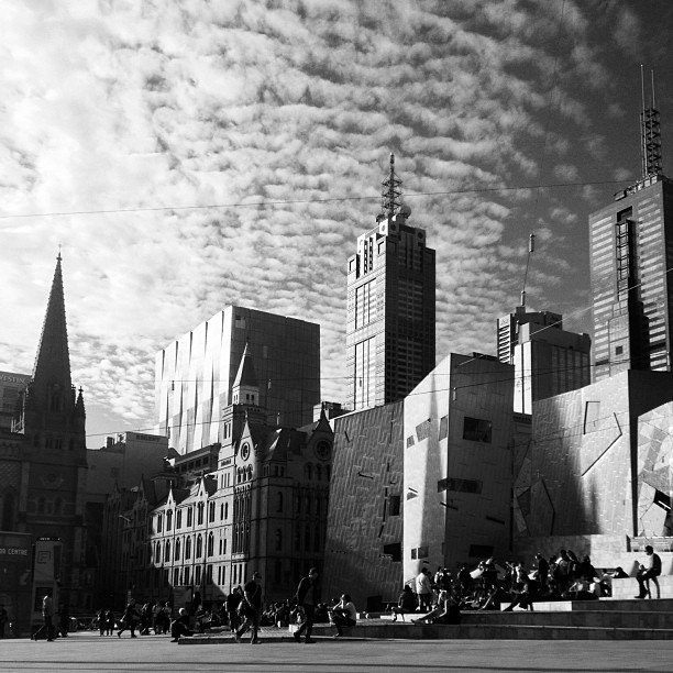 Federation Square | Melbourne | black & white | @Rachel Gladis of Melbourne