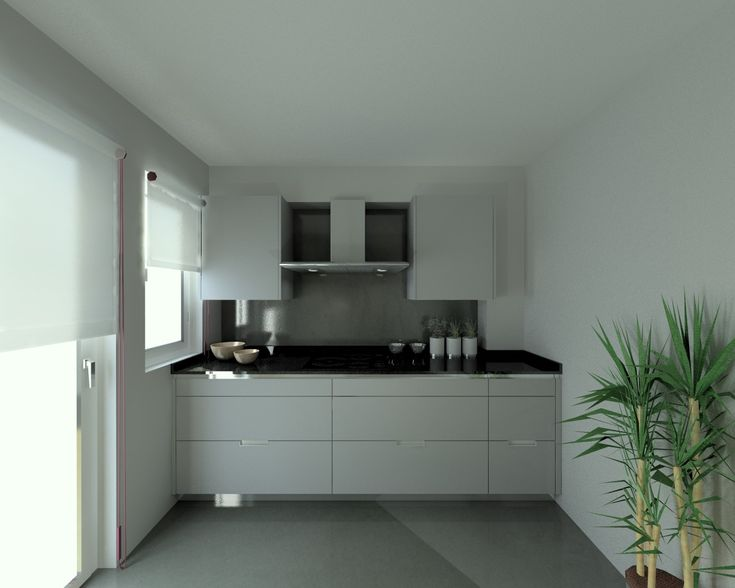 Cocina en melamina Blanca con textura y cubierta de Granito Negro