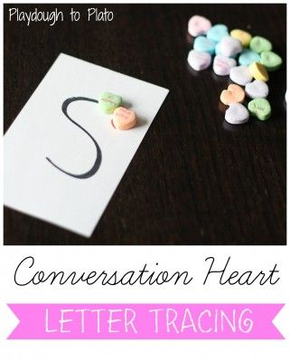 Valentine's Day Preschool Activity: Conversation Heart Letter Tracing - Playdough To Plato  *I love that she made all of the letters start at the top with a heart!