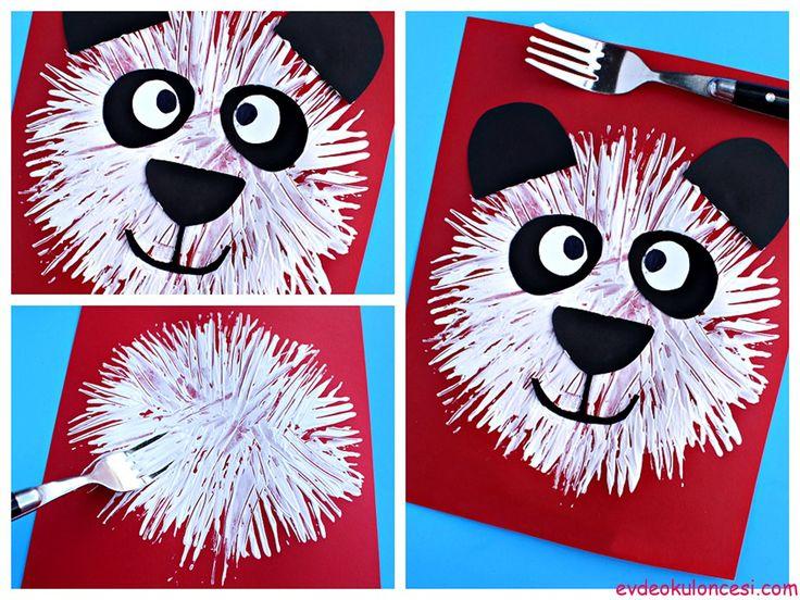 Çatal Baskısı ile Panda | Sanat Etkinlikleri