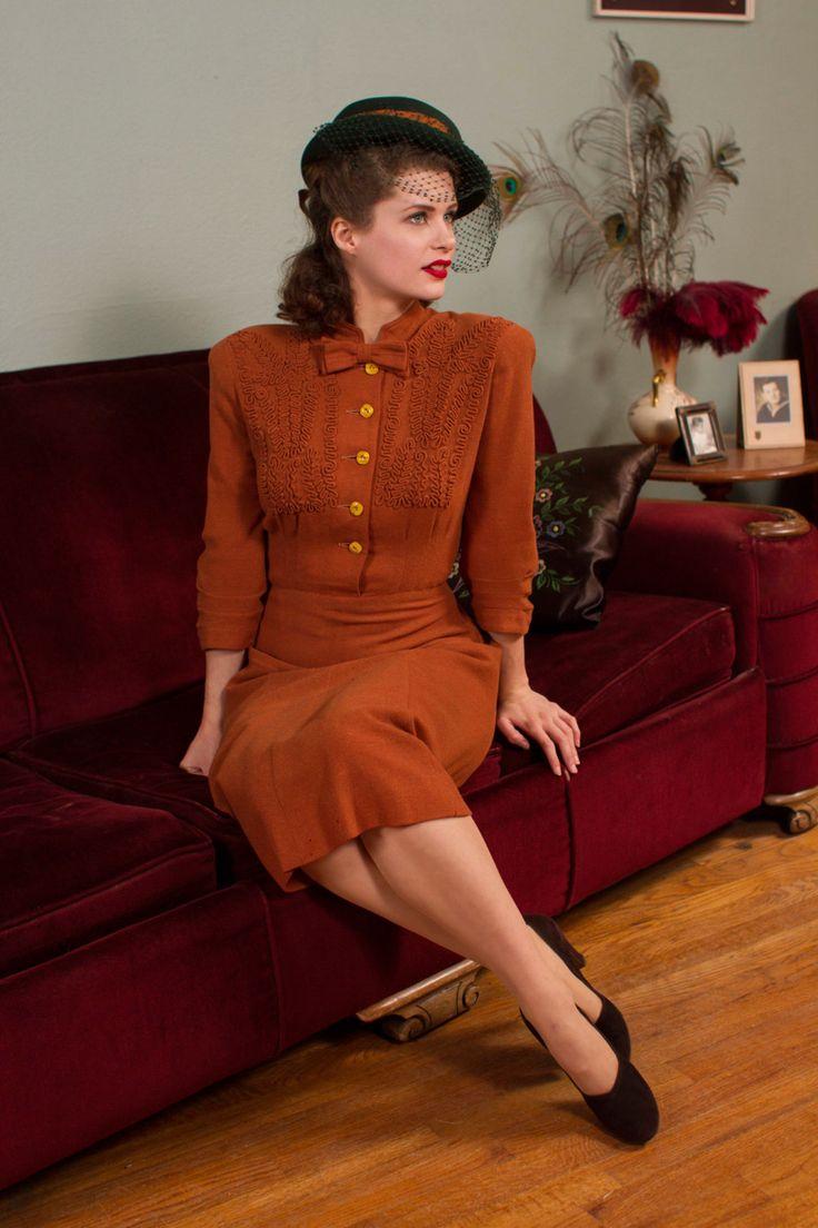 Vintage 1940s Dress Sweet Caramel Brown Wool Dress by FabGabs