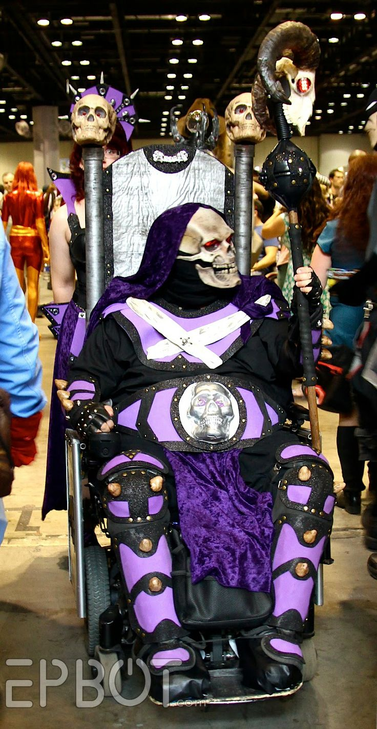 Skeletor on his throne wheelchair costume - EPBOT: MegaCon 2014 - This is SO COOL! If anyone dresses up in this for Halloween they need to come in to the ESNS office to show it off!! :)