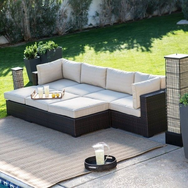 Belham Living Marcella All Weather Outdoor Wicker 6 Piece Sectional... ($49) ❤ liked on Polyvore featuring home, outdoors, patio furniture, outdoor patio sets, outdoor wicker patio sets, all weather outdoor patio furniture, outdoor garden furniture, outdoors patio furniture and outdoor patio set