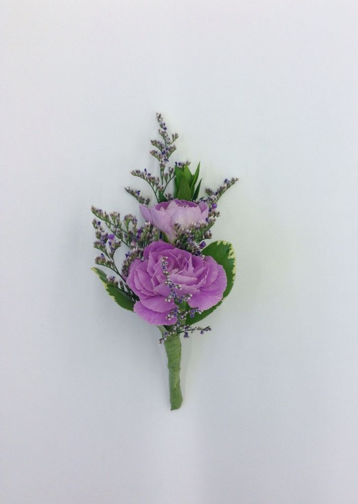 Lavender mini carnation boutonniere by Nancy at Belton hyvee.