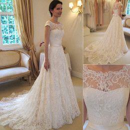 Wholesale 2014 Vintage Lace A Line Wedding Dresses Bateau Short Sleeve Bridal Dresses Chapel Wedding High Quality Court Train Custom Made White Zipper