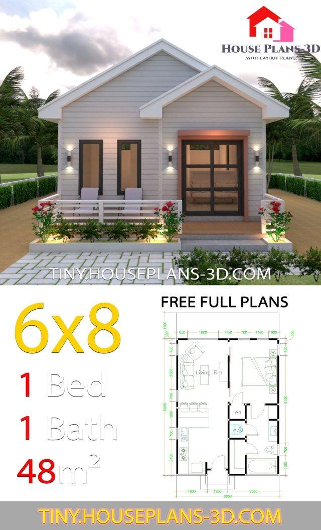 Studio House Plans 6x8 Gable Roof Tiny House Plans Tiny House Plans Simple House Plans Tiny House Floor Plans