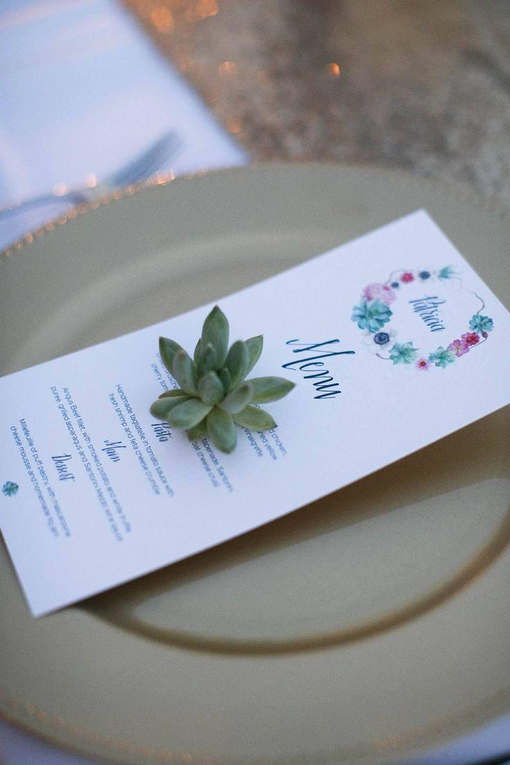 Wedding stationary ideas   Flower pattern wedding menus   Destination wedding in Greece
