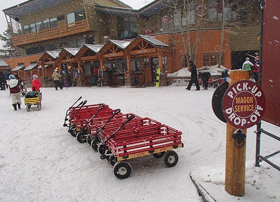 Complimentary wagons for guest use at Winter Park Resort - for hauling gear or small children! #VisitGrandCounty