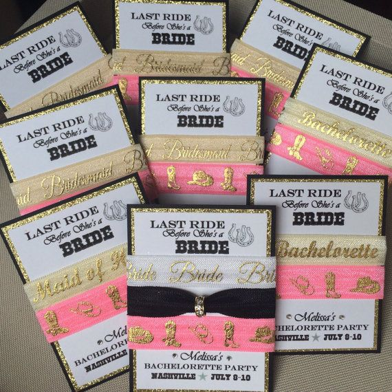 LAST RIDE Bachelorette Party Bridesmaids favor sets Western