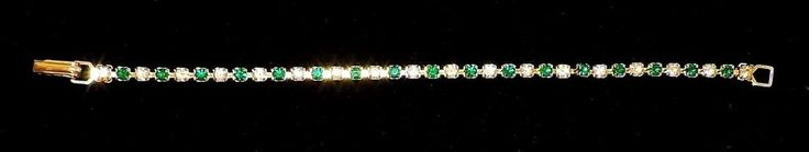 2213~Vintage Goldtone Green And Clear Prong Set Rhinestone Tennis Bracelet** #Tennis