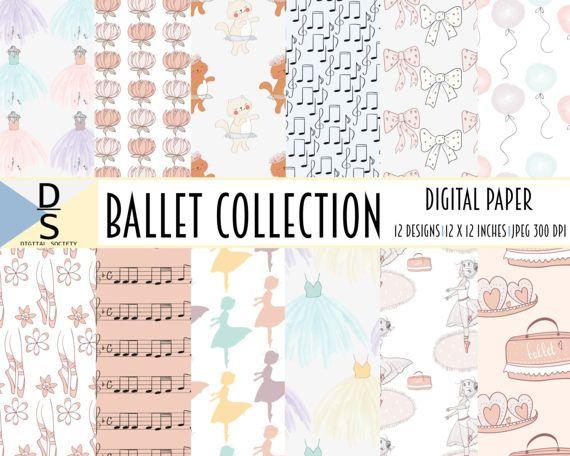collage sheet ballet digital scrapbook scrapbooking paper