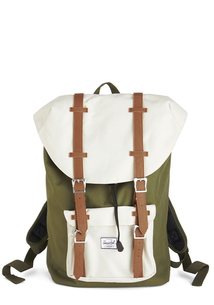 Out in the Field Backpack. Before heading out to snap your favorite subjects, slip your laptop and supplies into the roomy interior of this colorblocked, neutral backpack by Herschel Supply Co.! #green #modcloth