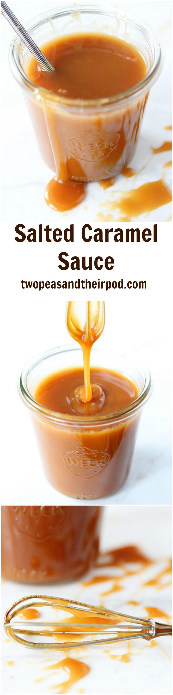Salted Caramel Sauce Recipe on http://twopeasandtheirpod.com The BEST homemade Salted Caramel sauce and it's SO easy to make at home! Everyone LOVES this recipe and it is good on just about everything!