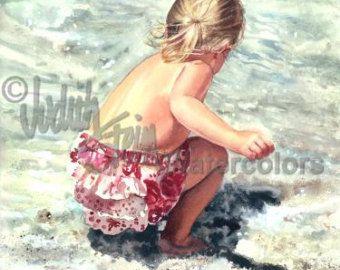 Beach Boy Watching Big Brothers & Sisters Swim by steinwatercolors