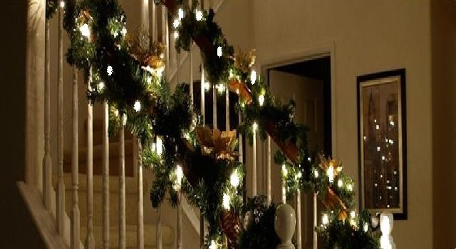 Christmas Stair Decorations with Lights