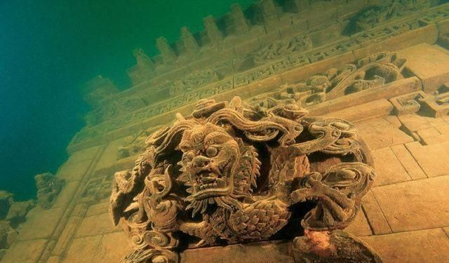 The ancient Shi Cheng city, which dates to the Eastern Han Dynasty (25-200 AD), lies 130 feet underwater in Qiandao Lake in China, flooded for a dam in 1959