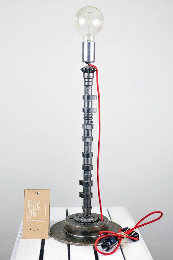 Modern lamp made of pulleys camshafts and brake by RECONrenewed