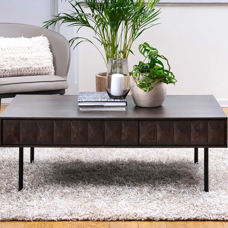 Amos coffee table with drawers dark wood barker