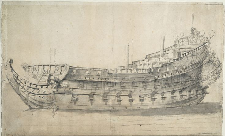 Portrait of the French ship 'Neptune', viewed from the port beam. She was built…