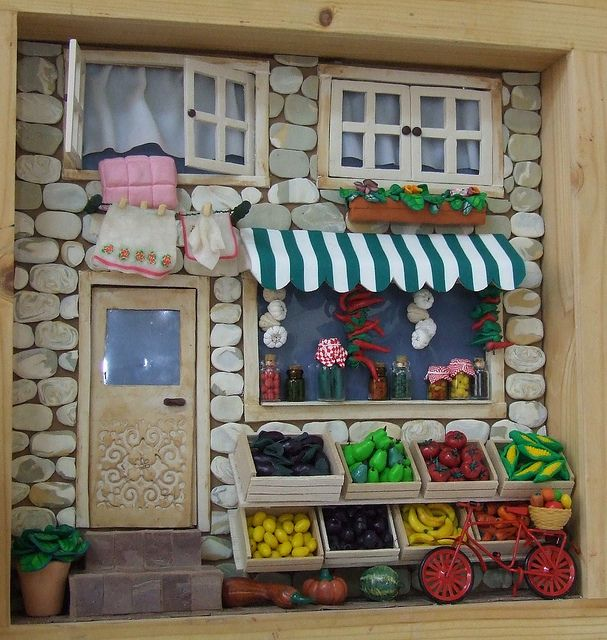 Tova's miniature vegetables and fruit store scene in shadow box by Zoota, via Flickr