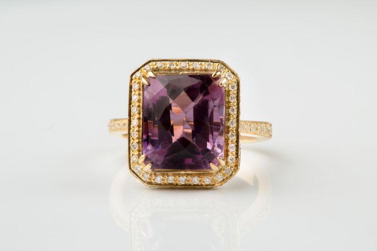 15%off 18k Amethyst Ring Elegant Gold Diamond Ring