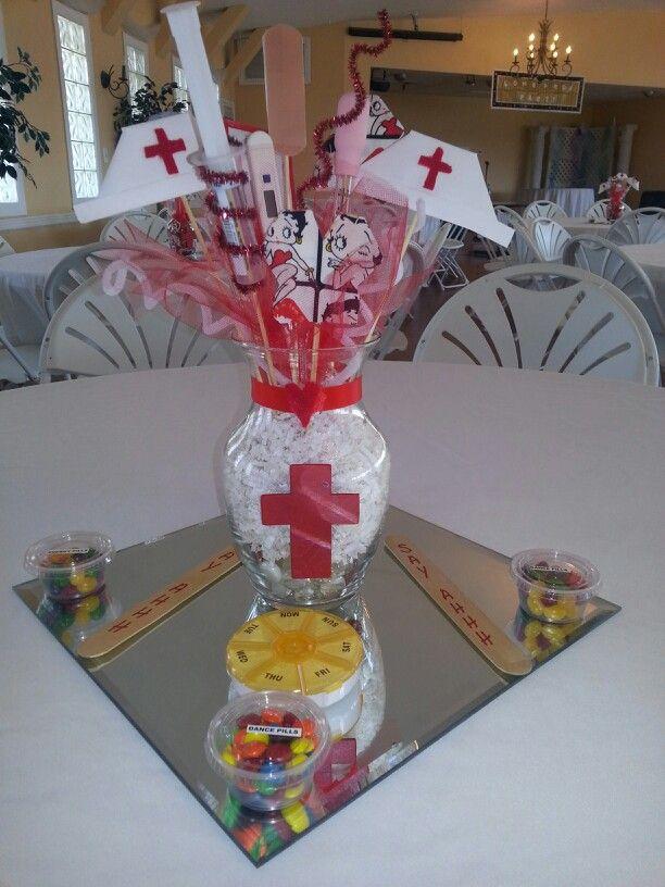 Nurse grad party center pieces nursing school