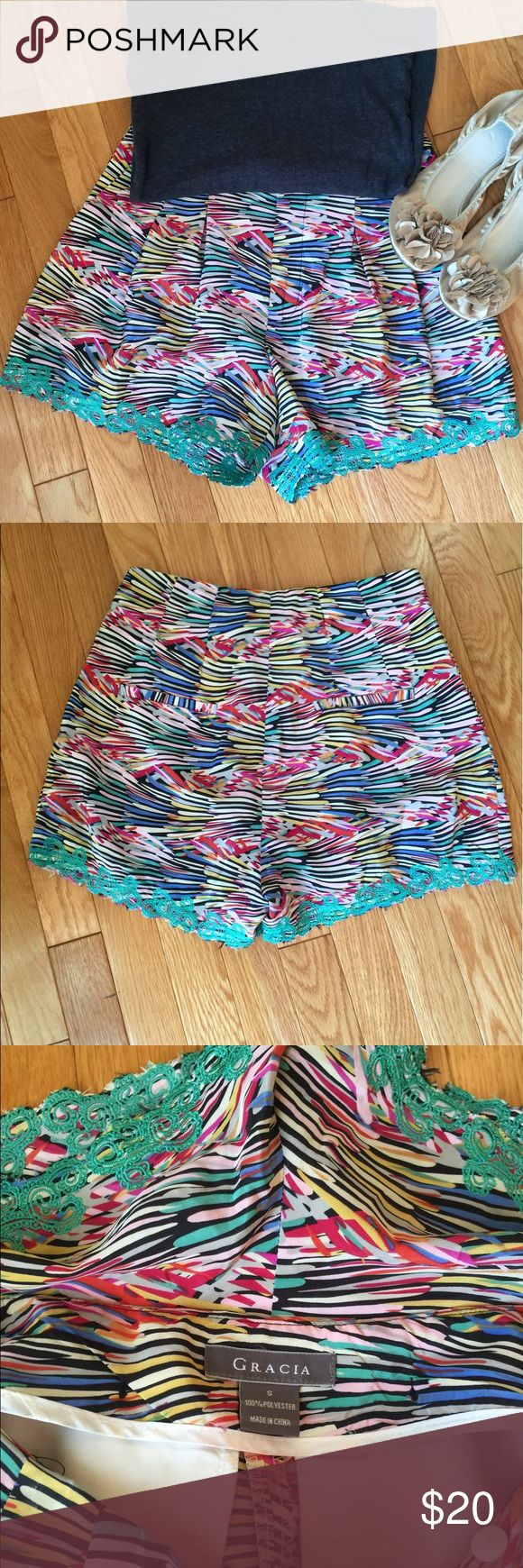 GRACIA contemporary shorts Super soft, silky with teal embroidery at the leg openings. High waisted. Dressy or casual. Like new, worn once. Gracia Shorts