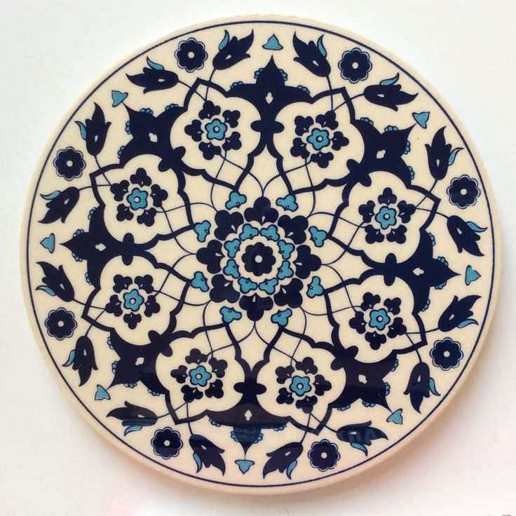 White and Blue Ceramic Trivet