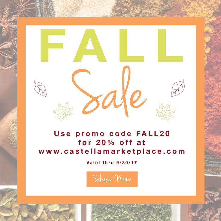 HAPPY FIRST DAY OF FALL! Use promo code FALL20 for 20% off your next purchase from the Castella Marketplace http://www.castellamarketplace.com/