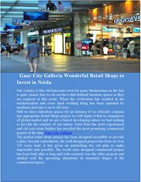 Gaur City Galleria is one of the incredible commercial project by Gaur Sons. The project providing a variety of spaces in kiosks, corporate office, in Noida Extension.