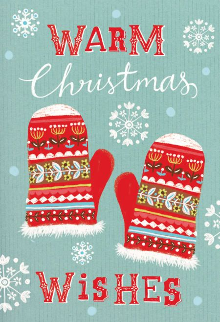Louise Anglicas - Warm Christmas Wishes - illustration with mittens and snowflakes - so cute!