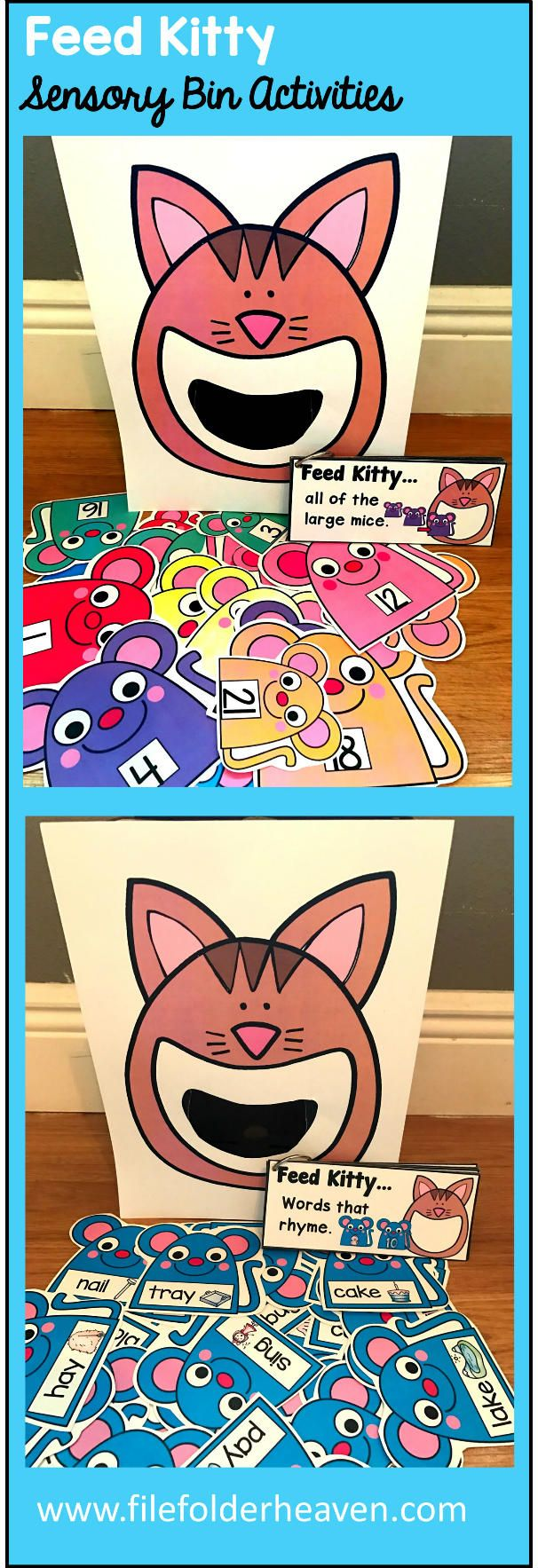 These Feed Kitty Activities are a GREAT addition to  any Pets or Puppy themed unit that you are working on in your classroom. There are so many ways to use this Feed Kitty Set.  I have left it very open ended so that you can target the skills you need to target in a small group setting. I have also included instruction cards for each set so that you can set the activity up as an independent center, and/or sensory bin activity.
