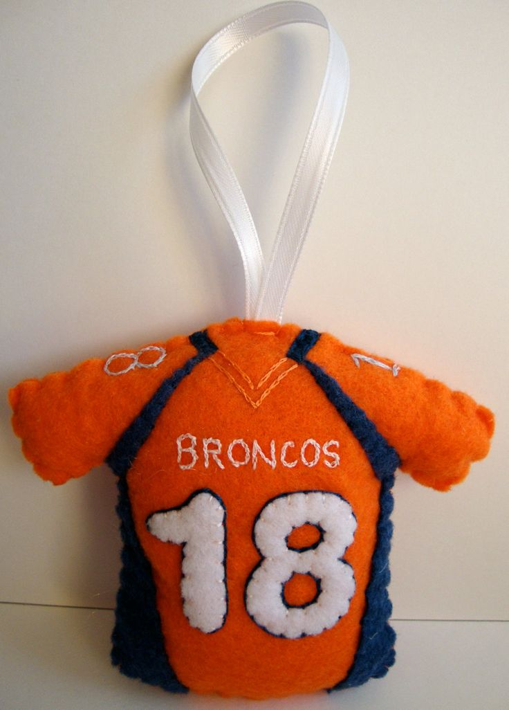Personalized NFL Jersey Felt Ornament. $20.00, via Etsy.