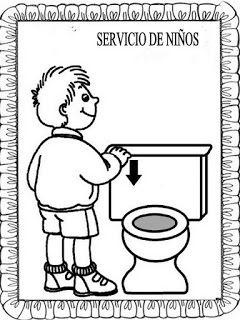 Material educativo para maestros: Carteles baños para colorear