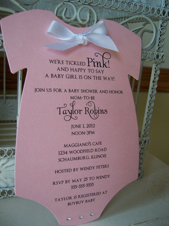 Dont you just LOVE this invitation?! Such a sweet theme for a baby shower!  $2.25 Base price includes: ~5x7 {approx} invitation printed on Think Pink Metallic card stock ~Blank smooth white envelope {non metallic}  Dazzle your posh invitation with: * Double faced 3/8  satin ribbon {.40 each} * Swarovski crystal {.40 PER crystal}  Other metallic colors available! Looking for other baby shower invitations? I also carry diapers and baby bibs! Convo me for pricing! Ask me about coordinating ...
