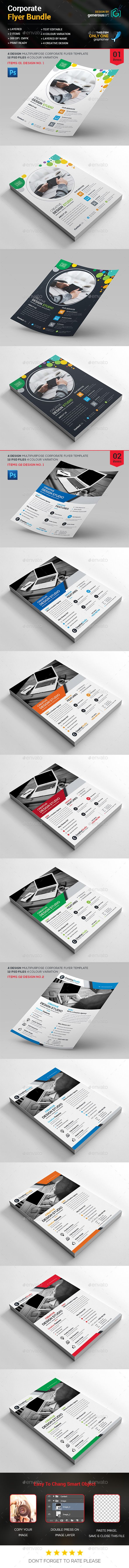 Corporate Flyer Design Template Bundle 2 in 1 - Flyers Print Template PSD. Download here: https://graphicriver.net/item/flyer-bundle-2-in-1/17025784?s_rank=181&ref=yinkira