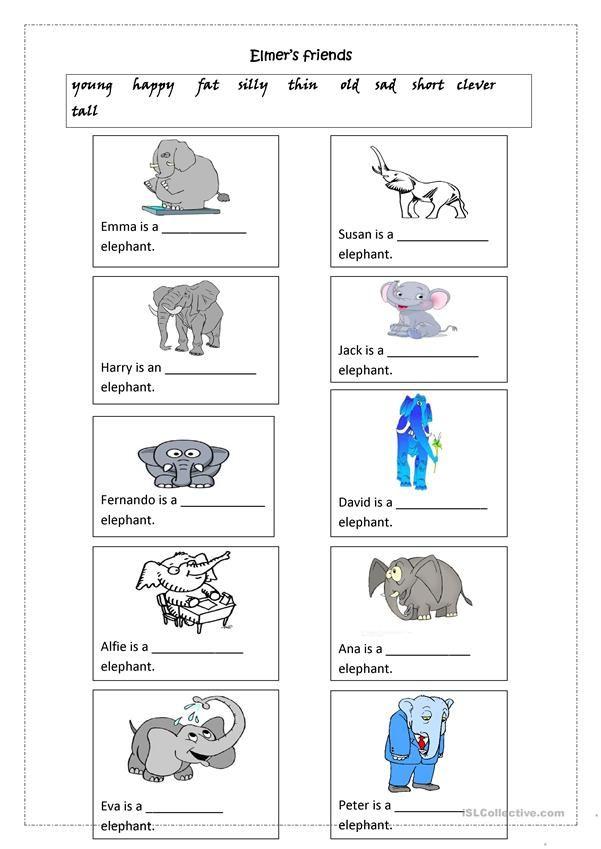Elmer S Friends Adjectives Kindergarten Worksheets Kindergarten Worksheets Free Printables Reading Worksheets Adjectives worksheets for kindergarten