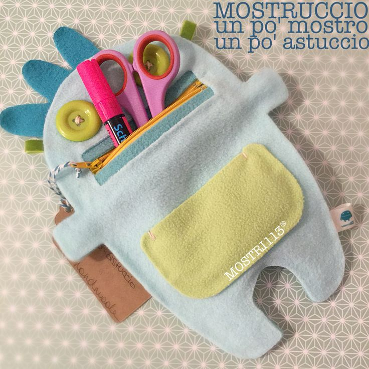 Mostruccio: Un po' mostro, un po' astuccio - handmade toy for kids - monster little bag - Follow Mostri113® on facebook: www.facebook.com/Mostri113