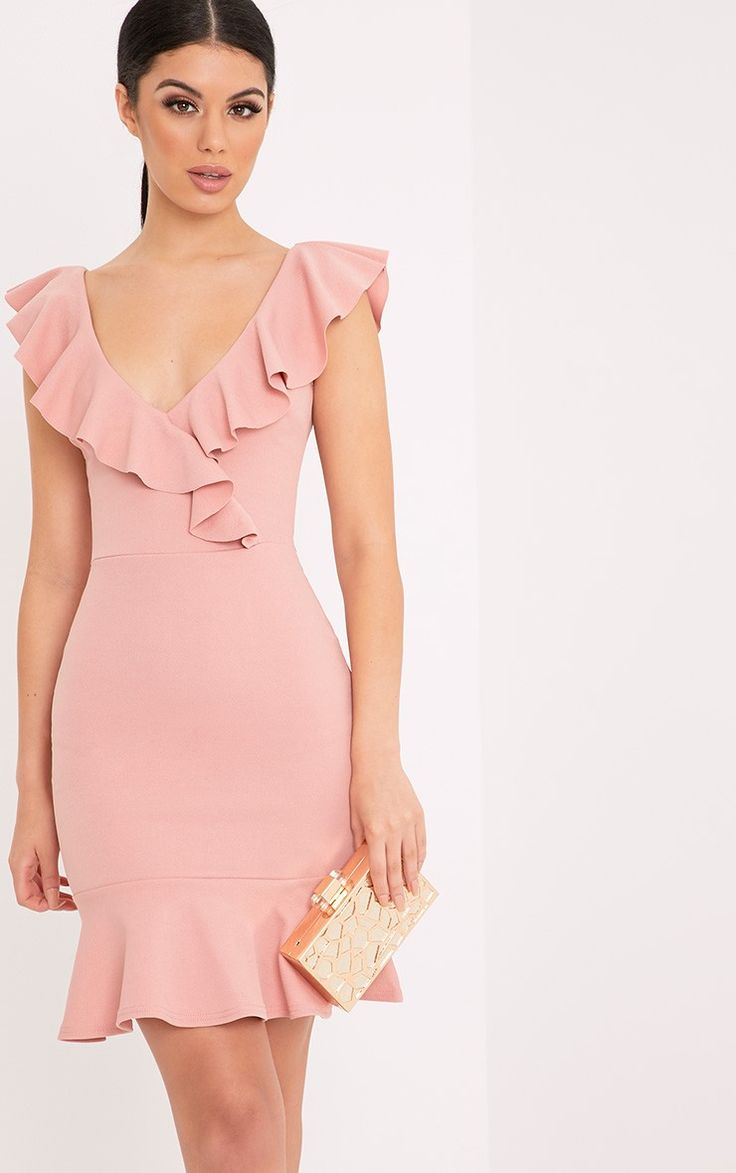 Rose Frill Detail Bodycon DressFeaturing stretchy crepe fabric, funky frill neck and hem details ...