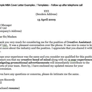 cover letter how to address after a phone call