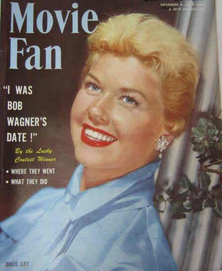Doris Day on the cover of Movie Fan magazine, November 1954, USA.