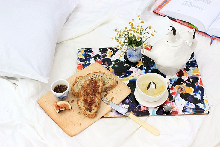 Breakfast in bed with Third Drawer Down Studio Sam Francis placemat and Eleonor Bostrom ceramic.