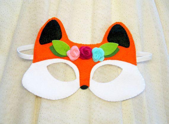 Fox máscara para la muchacha Naranja Negro Blanco sintió rosas de regalo hecho a mano de los niños del traje animal del bosque adultos se visten juego de rol Teatro accesorio