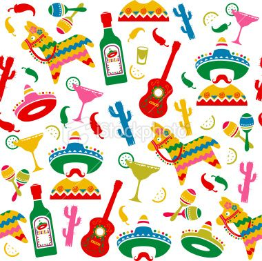 Mexican Party Seamless Pattern Stock Vector Art More Images Of