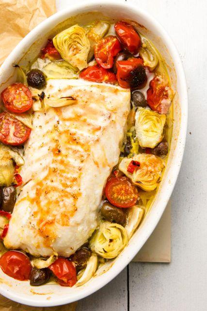 Christine Messer: Kabeljau mit Tomaten und Oliven