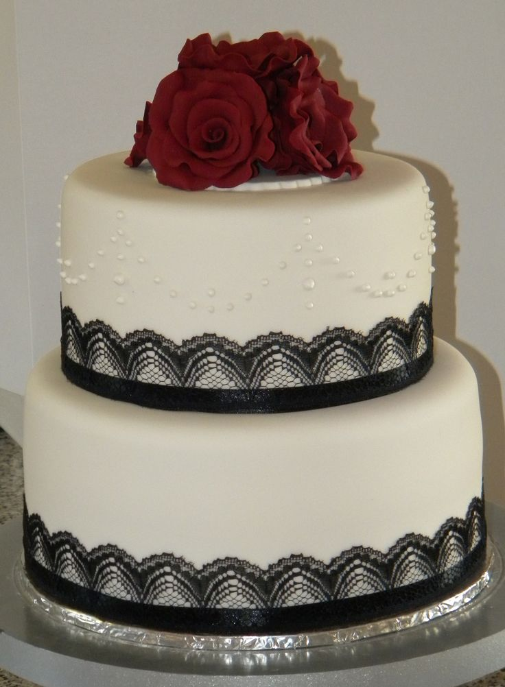 Deep red roses and black lace