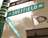 Vintage Canvas Print of the Famous Waveland & Sheffield Street signs and Murphy's Bleachers with Cubs flag.